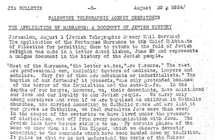 letter to the chief rabi in Jerusalem 22 august 1924 part 1